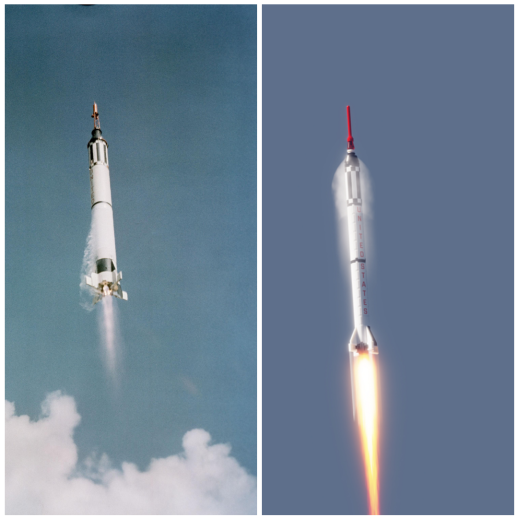 Mercury-Redstone side by side