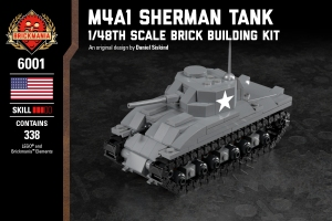 M4A1 Sherman Tank - 1/48th Scale Brick Building Kit