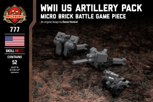 WWII US Army Artillery Pack - M1A1 75mm Howitzer, M2A1 105mm Howitzer, & M5 3in Anti-Tank Gun
